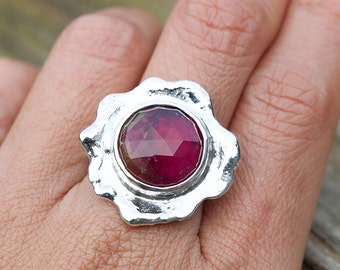 Flower Ring Design, Faceted Tourmaline Ring, Gemstone Ring, Tourmaline Rose cut, Wedding Ring, Tourmaline Rings