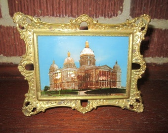 Antique Edwardian Ornate Framed Souvenir The Capitol DES MOINES, IA.