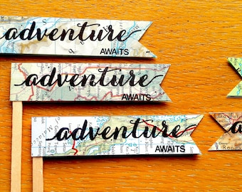 Adventure Awaits Cake Topper -Travel Theme Cake Topper- 8 Adventure Cupcake Picks- Travel Theme Cake Toppers -Travel Themed Party Cake Decor