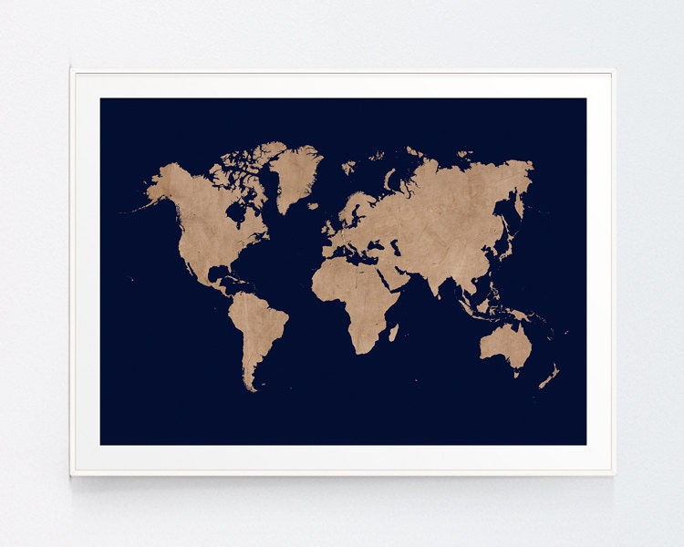 Vintage beig world map with navy background earthy decor wall zoom gumiabroncs Gallery