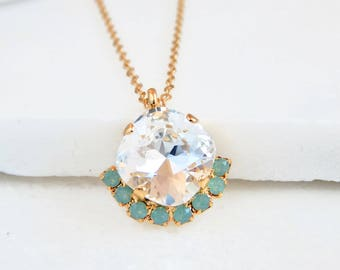 Mint green and clear crystal necklace - mint green necklace - 14k gold-filled necklace - gold necklace - mint opal crystal