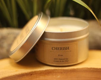 CHERISH 6 oz. Scented Soy Candle Tin | Soy Candle | Travel Candle | Scented Candle | Soy Candle Gift Idea | Romantic Scented Candle