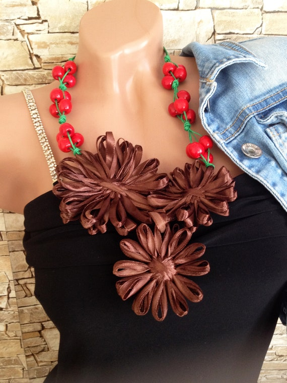Boho wrap beads necklace Statement necklace Brown green red