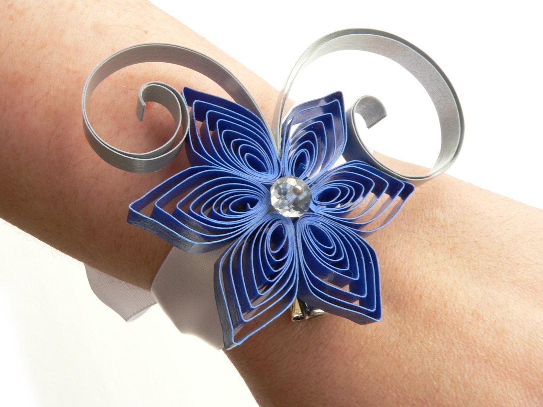 Blue prom bracelet royal blue wedding wrist corsage silver zoom izmirmasajfo