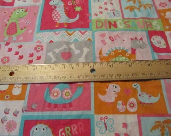 33 x 43 Inches Pink Dinosaur Cotton Fabric Remnant