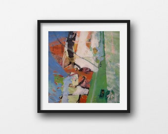 Overbodice: Square, Original Abstract Painting in Blue, Green, White, and Orange