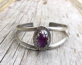 Sterling Silver Cuff, Amethyst Bracelet, Gemstone Cuff,  Sterling Silver Bracelet, Gemstone Bracelet, Silver Cuff, February Birthstone Cuff