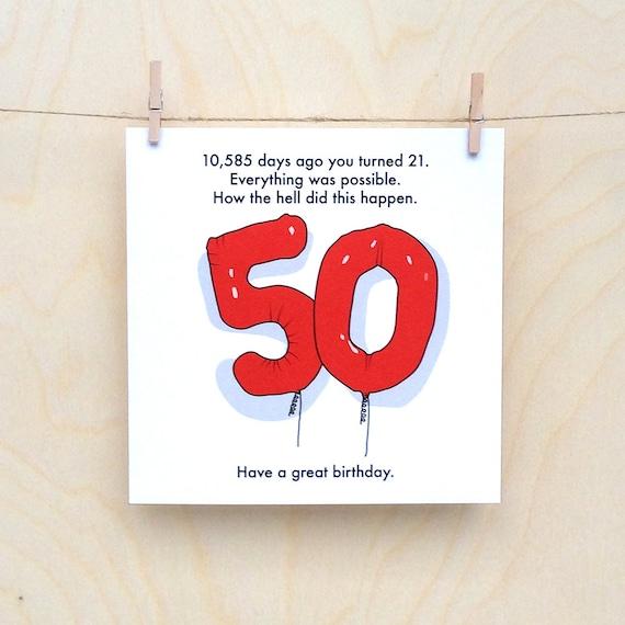 50th Birthday Card Funny 50th Card Funny Age Card Funny