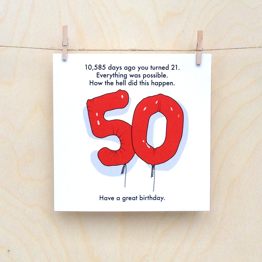 50th Birthday Party Ideas Funny: 50th Birthday Card Funny 50th Card Funny Age Card Funny