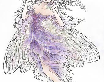 Digital Stamp - Ballerina - Instant Download - Wisteria Fairy with Damselfly Wings and Pointe Shoes - Fantasy Line Art for Cards & Crafts