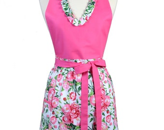 Sexy Halter Retro Apron - Ruffled Bright Pink Floral - Womens Cute V-Neck Over The Head Kitchen Apron with Pocket - Monogram Option