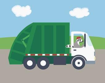 Garbage Truck Nursery Art - Lemur Kids Wall Art Print