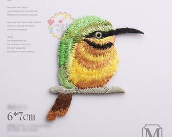 1 x fusible coat M bird embroidered Decoration applied by iron