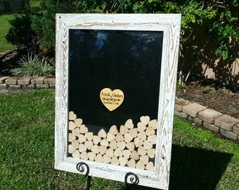 Guest Book Wedding Drop Box Rustic Wood Shadow Box Display Frame in Distressed White
