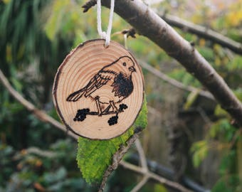 Hand Carved Wooden Robin Bird Ornament