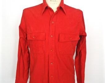 L.L.Bean Chamois Cotton Shirt / vintage red combed cotton flannel / men's medium