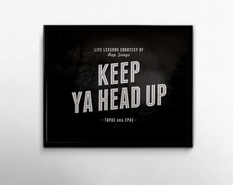 Tupac Poster Keep Ya Head Up Print 2pac Rap Quotes Black White Inspirational Wall Art