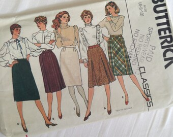 Misses Pleated SKIRT Size 6-8-10 Butterick Classics #4618