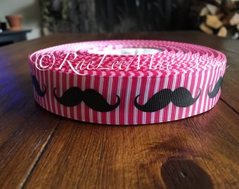 "Mustache ribbon 1"" 25mm/grossgrain hot pink and white stripe mustache ribbon/mustache hair bow ribbon/hot pink and white stripes ribbon/"