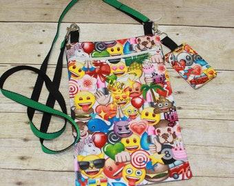 Emoji Crossbody Bag, Emoji Hipster Bag, eReader Bag, Tablet Bag, Key Fob, Key Chain