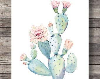 Cacti art print | Printable art | Watercolor cactus | painting watercolor cactus |  decor Printable wall art, pastel cactus art cactus