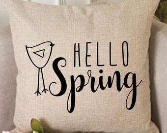 Hello Spring pillow cover, spring pillow, easter pillow, decorative 18x18 pillow