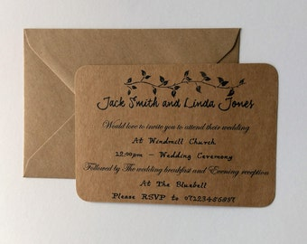 Vintage wedding Invitation, Country wedding Invite, Rustic wedding.