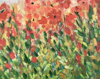 Small, Original Oil painting of Red Flowers on canvas