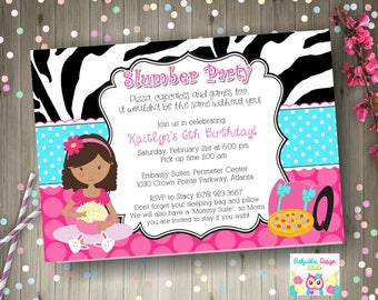 Slumber Party invitation Sleepover birthday party invitation invite pajama party printable DIY Print your own CHOOSE your GIRL