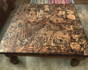 "Luna Moth Flame Etched EcoArt Coffee Table ""Dreams of a Luna Moth"""