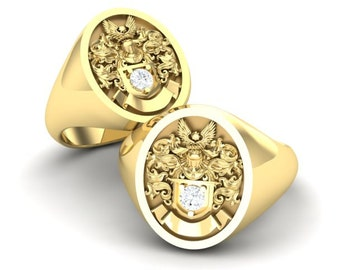 Family crest ring made with solid 10k gold and diamond