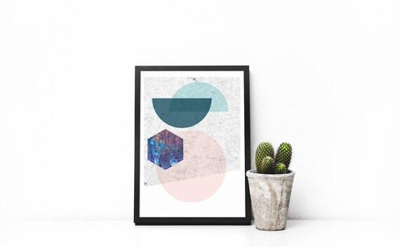 small print  // 5x7, Scandinavian Design, minimalist art print, abstract art, pink and green, 90s style
