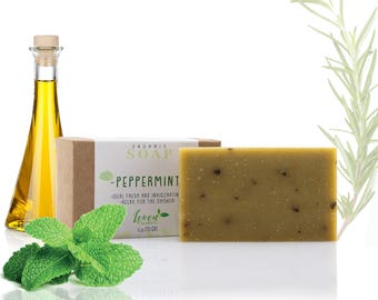 Organic Soap Peppermint Leaf Skin Care - Handmade Soap Bar 4oz. 100% Natural