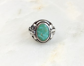 Vintage Sterling Navajo Turquoise Ring Size 6.5