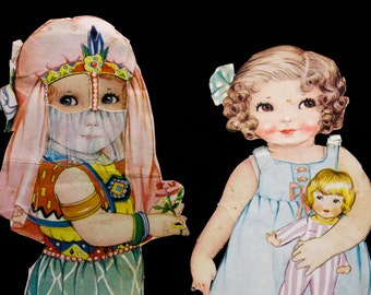Sweet 1940s Paper Doll Lot - 15 Pcs - Babies Kids Toddlers - Fantastic Scheherazade Middle Eastern Outfit - Dresses Coats Nightie - 50900