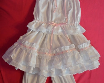 Child's size 3 camisole, petticoat, and pantaloons (outer garments).