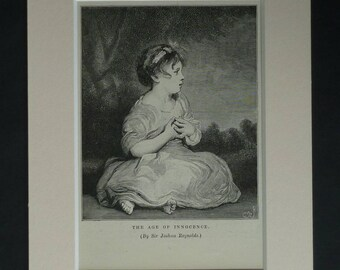 1880s Antique Joshua Reynolds Print, Age of Innocence Decor, Available Framed, Childhood Art, Innocent Child Picture Victorian Girl Wall Art