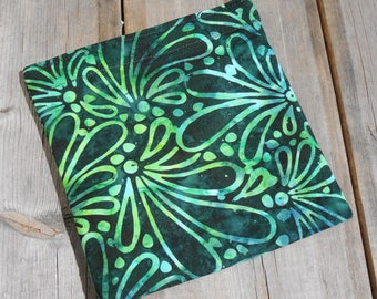 Reusable Snack Bag - Single Bag in Green Batik