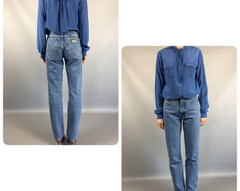 Hooded Silk Blouse 1990's Vintage Blue Shirt Small Sz 6 Us 8UK Summer Blouse Long Sleeve Buttons Down Blouse Day Boho Retro 80s Blouse Rare