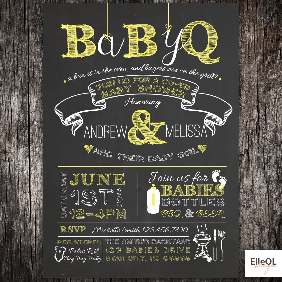 BabyQ chalkboard couples co-ed Baby Shower BBQ invitation