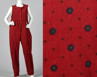 Medium 1980s Red Corduroy Jumpsuit Oversized Cotton Jumpsuit Sleeveless Casual Large Pockets Tie Back Waist 80s Vintage