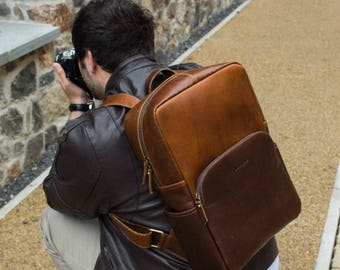 Mens Leather Backpack Laptop Rucksack Bag suitable for 15.7'' Laptop - Porter by Niche Lane