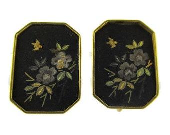 Amita Damascene Earrings/ Vintage Black Gold Floral Earrings / Vermeil 24k  Silver Screw Back Earrings /Japanese Komai Shakudo