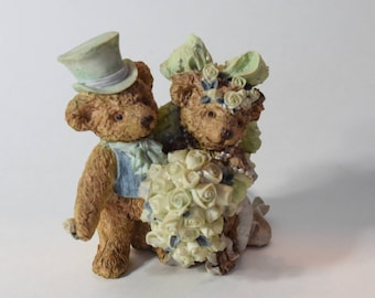 Vintage Wedding Cake Topper with bears, Bear Wedding Topper, Vintage topper