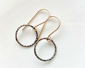 Oxidized Silver Circle Earrings ,  Dangle Hoop Earrings , Textured Circle Earrings , Minimalist Earrings , Gold & Sterling silver earrings