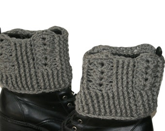 Womens Boot Cuffs, Plus Size Boot Cuffs, Boot Cuffs, Boot Socks, Gray Boot Cuffs, Womens Leg Warmers, Woman Boot, Crochet Boot Cuffs