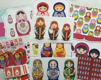 Russian Doll Babushka Scrapbooking Paper Craft Pack