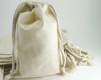 Muslin Bags | 25 Large Cotton Muslin Gift Bags Pouches (5 by 8 inch) for Jewelry, Wedding Favors | Unbleached Muslin Favor Bags