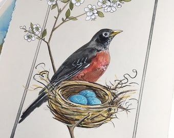 Spring Robin original watercolor on paper