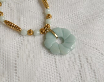 Amazing Amazonite Carved Donut Necklace